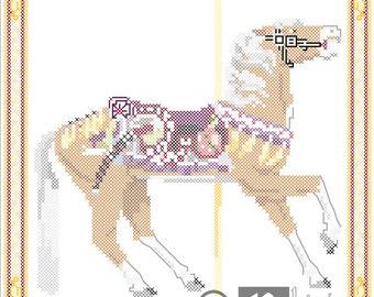 Carousel Horse Cross Stitch Pattern Herschell-Spillman Golden Gate Park, San Francisco, CA PDF