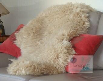 Genuine Rare Elegant Exclusive Camel Sheepskin rug