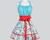 Flirty Chic Womens Aprons . Cute Retro Full Kitchen Cooking Apron in Vintage Polka Dots Red Aqua Navy Rockabilly Sexy Cooking Womans Apron