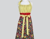 Cute Kitsch Retro Aprons , Full Chef Vintage Kitchen Womans Apron in Red Yellow and Black Fruit Handmade Hostess Cooking Womens Apron