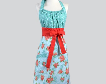 Cute Kitsch / Small Coral Red and Turquoise Flowers Modern Womens Chef Apron