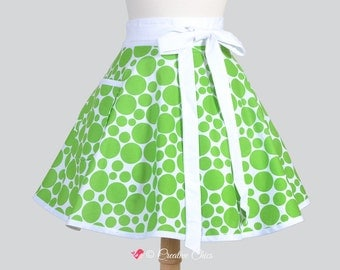 Waist Apron . Cute Christmas Half Apron With Green Circles on White Vintage Style Cute Kitchen Apron