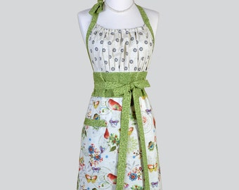 Cute Kitsch Retro Apron - Full Vintage Womens Apron in Whimsical Birds Kitchen Apron Cute Apron Chef Apron