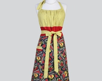 Cute Kitsch , Red Yellow and Black Fruit Hostess Cooking Womens Apron