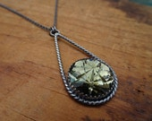 Smoky Stars--Oxidized Sterling Silver Necklace with Vintage Glass Cabochon--Handcrafted