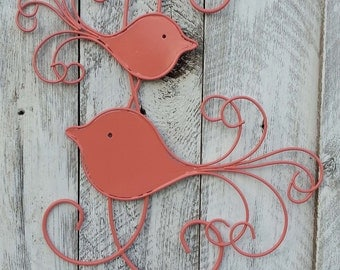 Coral Bird Wall Decor Wall Hanging / Scrolly Design / Sign / Home Decor / Nursery / Magnetic Will Hold Pictures (refbrd) READY TO SHIP