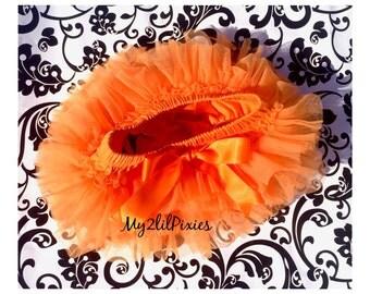 Sale ORANGE TUTU bloomer, ruffles all around,Chiffon Baby Bloomer, Diaper cover, photo prop, newborn bloomer ready to ship