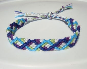 Blue, Turquoise, Purple, Green and White Friendship Bracelet