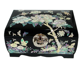 Mother of Pearl Wooden Lacquer Locked Jewelry Mirror Box Chest with Peony Flower Design