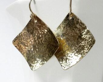 Hammered Gold Earrings, Square Gold Earrings, Hammered Earrings