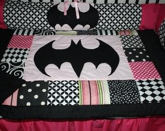 5 pc pink black batman crib bedding- free personalized pillow