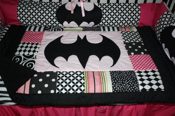 5pc Pink & Black Batman Bedding by bedbugscreations