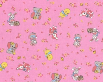 Old New 30s Collection Spring 2015 Cotton Fabric by  Lecien 31134-20  Vintage Animals Pink
