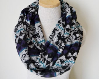 READY TO SHIP - Fairisle Reindeer Infinity Scarf - Black Grey Purple and Teal