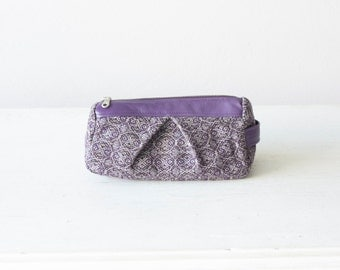 Toiletry bag in purple wool and leather, accessory bag makeup case cosmetic case travel pouch - Estia bag