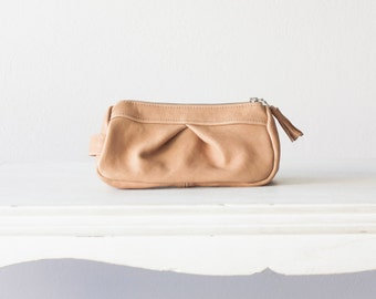 Leather makeup bag in nude beige, accessory case cosmetic bag zipper  utility bag travel zipper case - Estia Bag