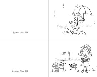 Rain or Shine Print and Color Note Cards