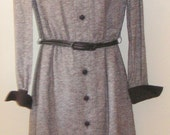 Reduced Vintage ladies wool dress long sleeve tweed solid collar cuffs button front fully lined S