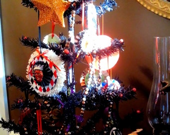 Black, Halloween Vintage Style Tree Complete With Decorations Table Top Size
