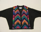 Guatemalan Jacket - Hand Made - Size L Large TALL - Colorful - V Neck style - Button Up - Lined