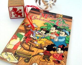 Vintage Mickey's Christmas Carol Book and Dewey Duck Wood Block,1985,1970's,Illustrated,Disney,Mickey Minnie Mouse,Holiday Keepsake,Children