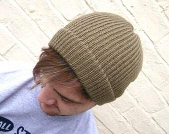 Men's knit beanie, olive winter hat, man hat, men's accessory.