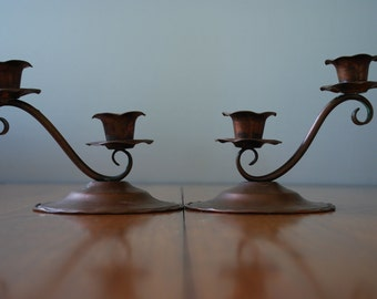 vintage pair of patinaed copper double candle holders -  Rustic - Farmhouse - California Ranch
