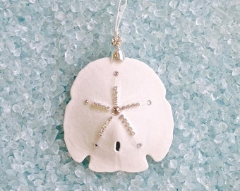 "Beach Christmas Ornament - Natural Sand Dollar with Swarovski Crystals - 3.5""-4"""