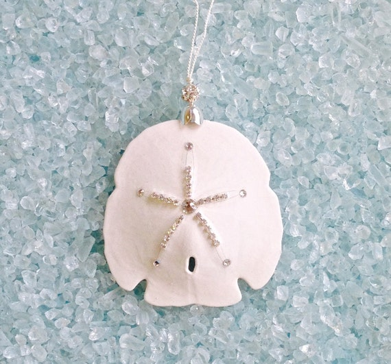 Beach Christmas Ornament - Natural Sand Dollar with Swarovski Crystals - 3.5""