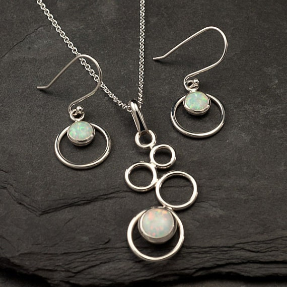Opal Necklace, Opal Earrings- Opal Jewelry Set- Sterling Silver Jewelry Set- October birthstone - 2 piece set