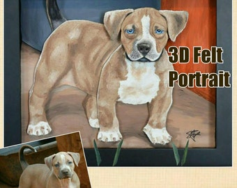 11x14 Custom 3D Felt Pet Portrait Gift Framed on Canvas