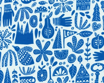 SALE - Cloud 9 Fabrics - Kindred Collection - Fable in Blue Organic