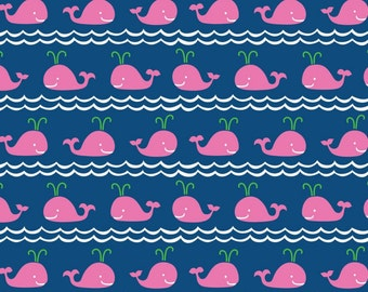 SALE - Blend Fabrics - True Blue Collection - Rowing in Pink