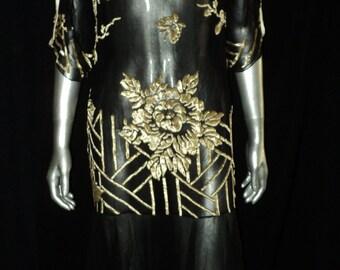 Gorgeous 1920's Devore Velvet with Black Chiffon Handkerchief Skirt Open Sleeves Satin Bow Low Back Original Flapper Art Deco