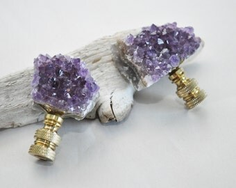 Lamp Finial Pair - Natural Amethyst Geode