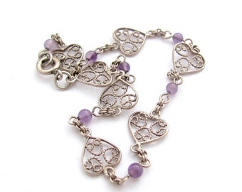 Vintage Heart Bracelet, Vintage Amethyst Bracelet, Silver Hearts Bracelet, Filigree Ornate Dainty Hearts, 925 Sterling Size 7-1/4