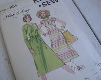 Vintage Sewing Pattern Kwik Sew 904 Dress Size 6 8 10 12