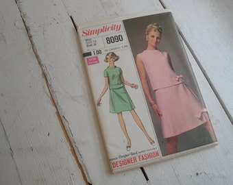 60s Sewing Pattern 2 Piece Dress Simplicity 8090 Size 14