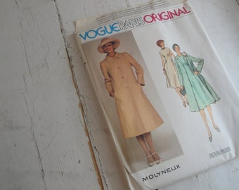 Vintage Sewing Pattern Vogue 1356 Dress & Coat Size 14 Paris Original Molyneux