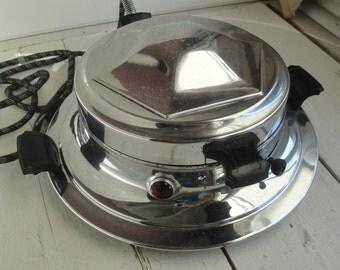 Vintage Waffle Maker Universal Chrome Round