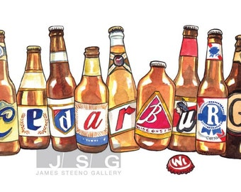 Cedarburg Spelled in Beer Bottles Illustrated Watercolor Print
