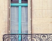 Paris Photography, Teal Blue Window, Wrought Iron Balcony, Paris Shutters Art Print, Travel Photography, Paris Apartment - Petit