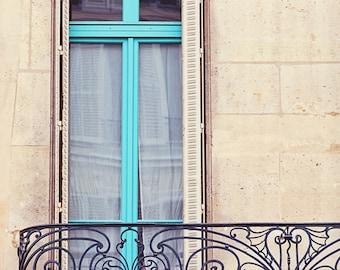 Paris Photography, Teal Blue Window, Wrought Iron Balcony, Paris Shutters Art Print, Travel Photography, Paris Apartment - Petit