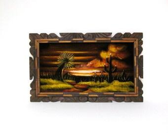 Cactus Painting, Oil on Velvet, Rustic Wood Frame, Desert Scene, Southwest, Rustic, Boho,  Wall Decor
