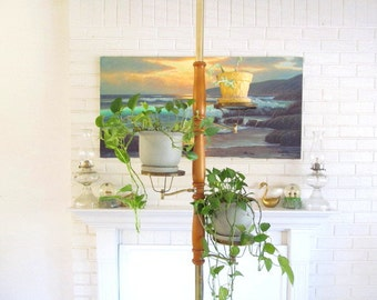 Mid Century Tension Pole with Plant Holder Shelves