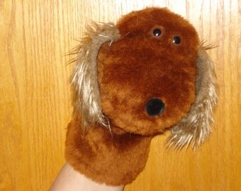 new for 2015 Brown Dog Hand Puppet faux fur with fuzzy furry  ears