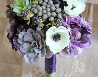 Purple Succulent Plum Lavender Wedding Bridal Bouquet