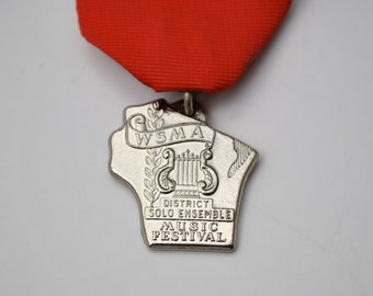Vintage 60s Wisconsin medal, music festival award, medal with red ribbon