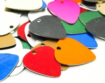10 Guitar Pick Economical Aluminum Stamping Blanks - 30mm X 25mm - Rainbow Mix - Handmade Jump Rings Included - 100% Guarantee