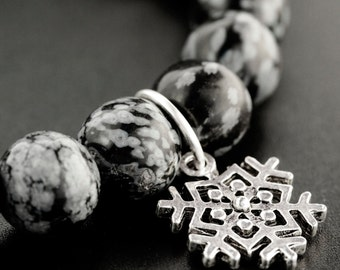 SALE ! Winter is Coming Stretch Bracelet in Snowflake Obsidian - Kit or Ready Made